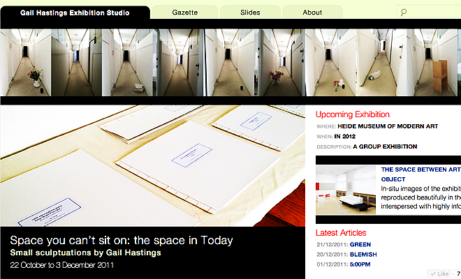 Front page of Gail Hastings Exhibition Studio website